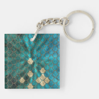 Aqua green Mermaidscales with gold glitter Keychain