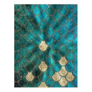 Aqua green Mermaidscales with gold glitter Postcard