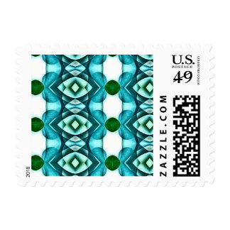 Aqua Green Modern Shapes Color Chrome Overlay Stamp