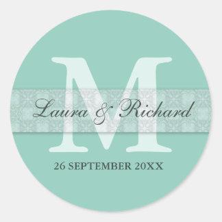 Aqua Green  Monogram Personalized Wedding Favor Classic Round Sticker