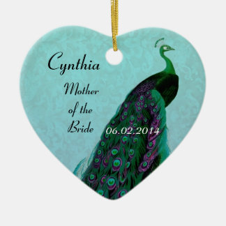 Aqua Green Mother of the Bride Wedding Thank You Double-Sided Heart Ceramic Christmas Ornament