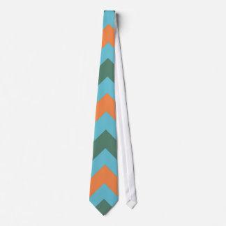 Aqua Green Orange Chevron Zigzag Pattern Neck Tie