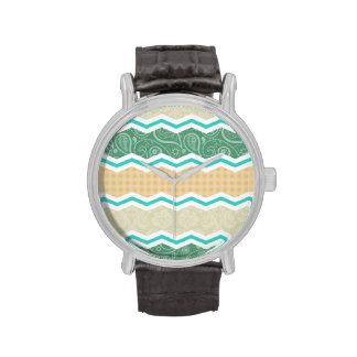 Aqua Green, Peach, & Tan Country Patterns Wrist Watches