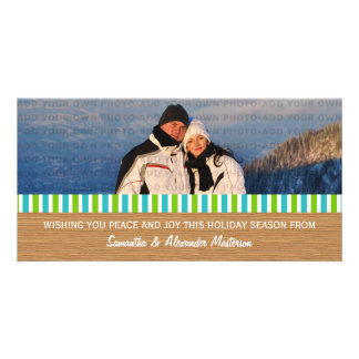 Aqua/Green Rustic Stripes Photo Card