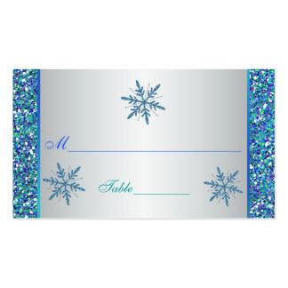 Aqua Green Silver Snowflakes Quinceanera Placecard Business Card