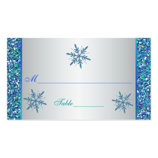 Aqua Green Silver Snowflakes Quinceanera Placecard Double-Sided Standard Business Cards (Pack Of 100)