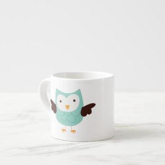 Aqua Green Spring Owl Espresso Mug