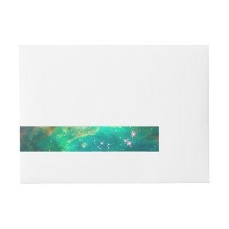 Aqua Green Star Cluster NGC 2074 Wrap Around Address Label