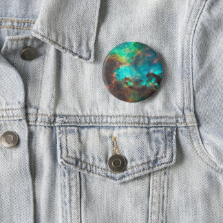 Aqua Green Star Cluster Space Photo Pinback Button