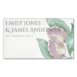AQUA GREEN WATERCOLOUR FOLIAGE OLIVE SAVE THE DATE MAGNETIC BUSINESS CARD