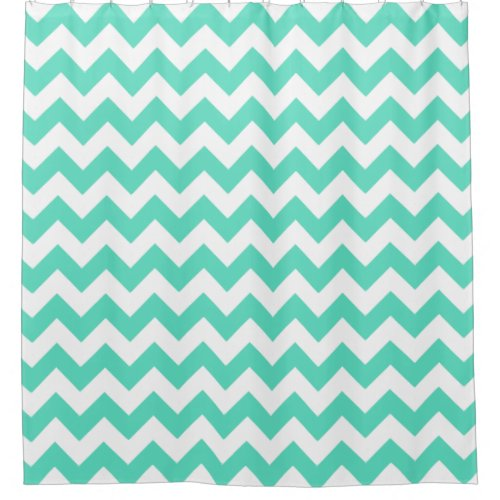 Aqua green & white chevrons shower curtain
