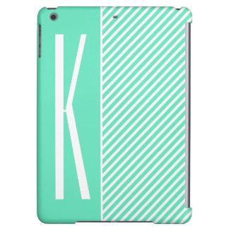 Aqua Green & White Diagonal Stripes iPad Air Case