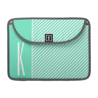 Aqua Green & White Diagonal Stripes MacBook Pro Sleeves