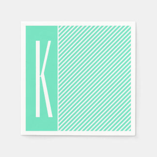 Aqua Green & White Diagonal Stripes Paper Napkin