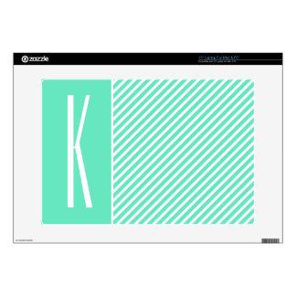 Aqua Green & White Diagonal Stripes Skin For Laptop