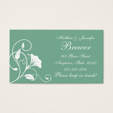 Professional Business Aqua Green & White Floral Change of Address Cards