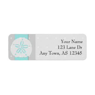 Aqua Grey Band Starfish Sand Dollar Return Address Label