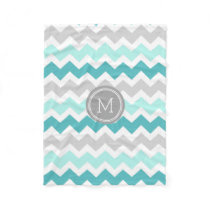 Aqua Grey Chevron Pattern Monogram Blanket