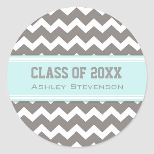 Aqua Grey Chevrons Graduation Custom Name Classic Round Sticker