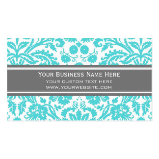 Aqua Grey Damask Floral Business Cards