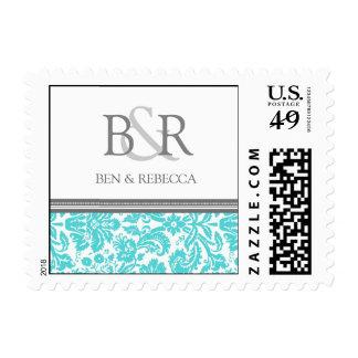 Aqua Grey Damask Monogram Wedding Stamps