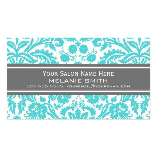Aqua Grey Damask Salon Appointment Cards Business Card