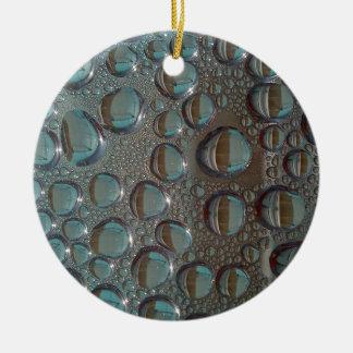 Aqua Grey Funky Waterdroplet pack Ceramic Ornament