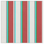 [ Thumbnail: Aqua, Grey, Mint Cream, Red & Green Colored Lines Fabric ]