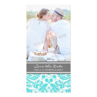 Aqua Grey Save the Date Wedding Photo Cards