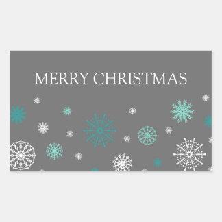 Aqua Grey Snowflakes Merry Christmas Stickers