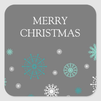 Aqua Grey Snowflakes Merry Christmas Stickers
