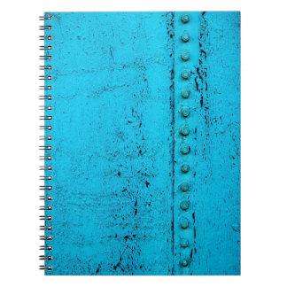 Aqua Grungy Metal Texture Notebook
