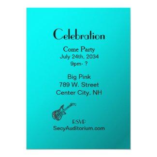 """Aqua Guitar Party 5.5"""" X 7.5"""" Invitation Card"""