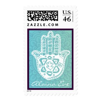 AQUA HAMSA HAND Bat Mitzvah Invitation Stamp