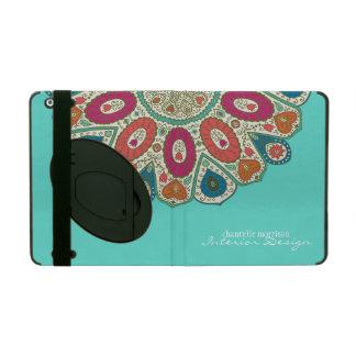 Aqua Hand Drawn Henna Circle Pattern Design Bright iPad Cover