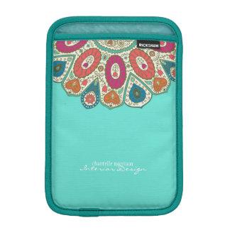 Aqua Hand Drawn Henna Circle Pattern Design Bright iPad Mini Sleeve