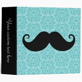 Aqua handlebar mustache on black damask pattern 3 ring binders