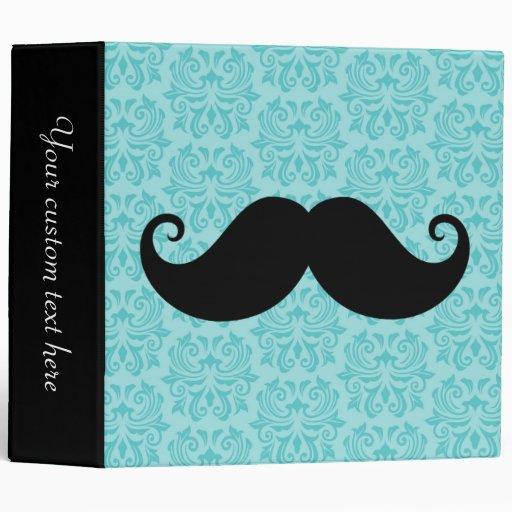 Aqua handlebar mustache on black damask pattern binders