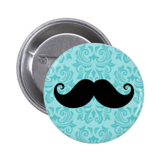 Aqua handlebar mustache on black damask pattern button