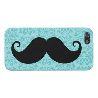 Aqua handlebar mustache on black damask pattern cover for iPhone SE/5/5s