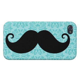 Aqua handlebar mustache on black damask pattern covers for iPhone 4