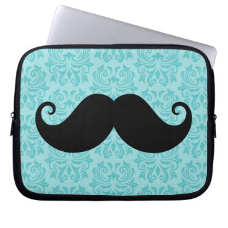 Aqua handlebar mustache on black damask pattern computer sleeves