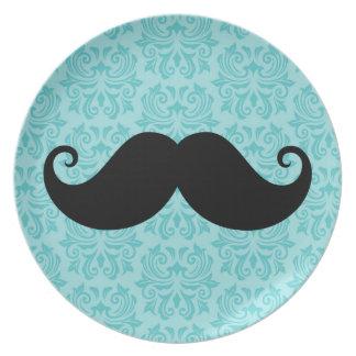 Aqua handlebar mustache on black damask pattern melamine plate