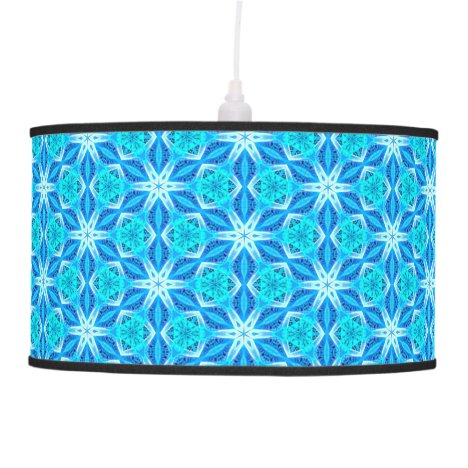 Aqua Hawaiian Stars under a Bright Night Sky Dance Hanging Lamp