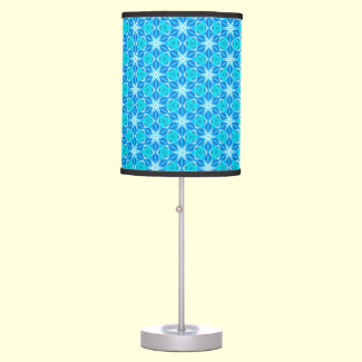 Aqua Hawaiian Stars under a Bright Night Sky Dance Desk Lamps