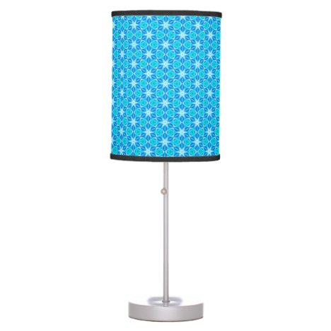 Aqua Hawaiian Stars under a Bright Night Sky Dance Table Lamp