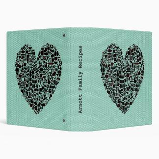 Aqua Heart Family Recipe Cook Book Binder Gift