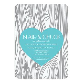 Aqua Heart on Faux Wood Invitation