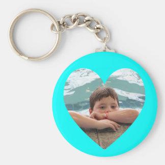 Aqua Heart Photo Template Keychain