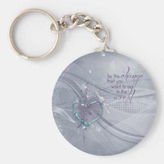 Aqua Heart Ribbon, Diploma, Jewels, Be the change Keychain